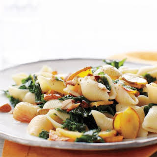 Roasted Acorn Squash Pasta with Kale and Almonds.