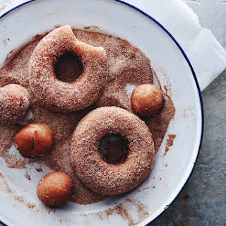 YEASTED APPLE CIDER DOUGHNUTS.