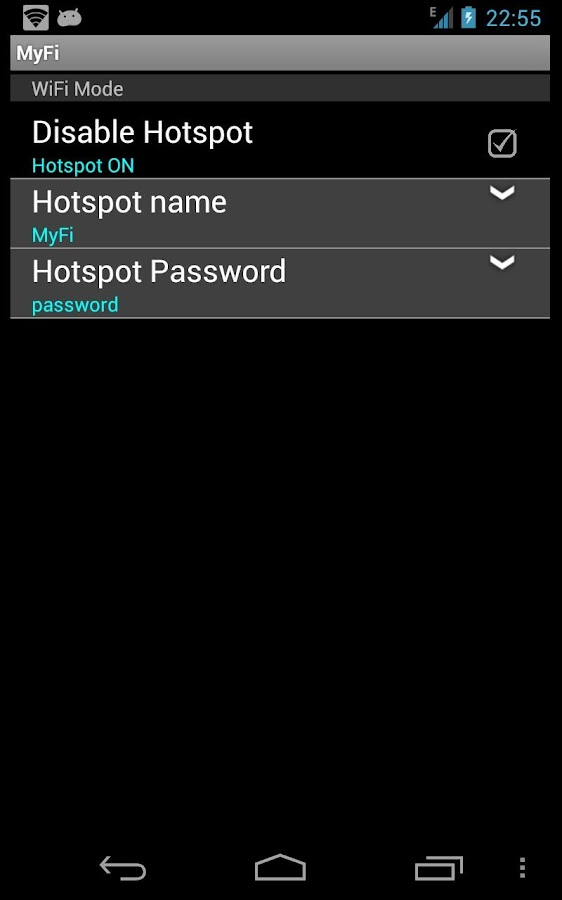 MyFi free hotspot- screenshot