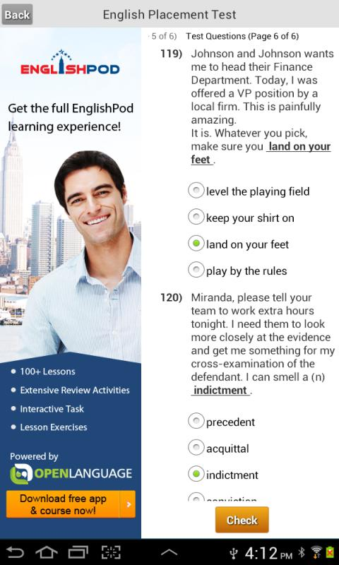 English Placement Test- screenshot
