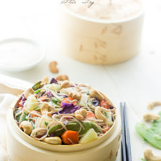 Honey Ginger Pineapple Stir Fry with Cashew Cream Sauce