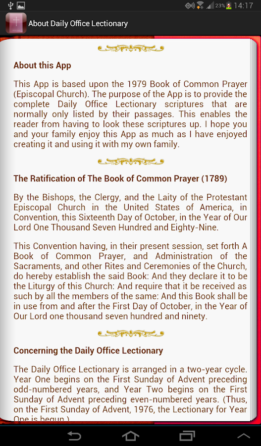 Daily Office Lectionary- screenshot