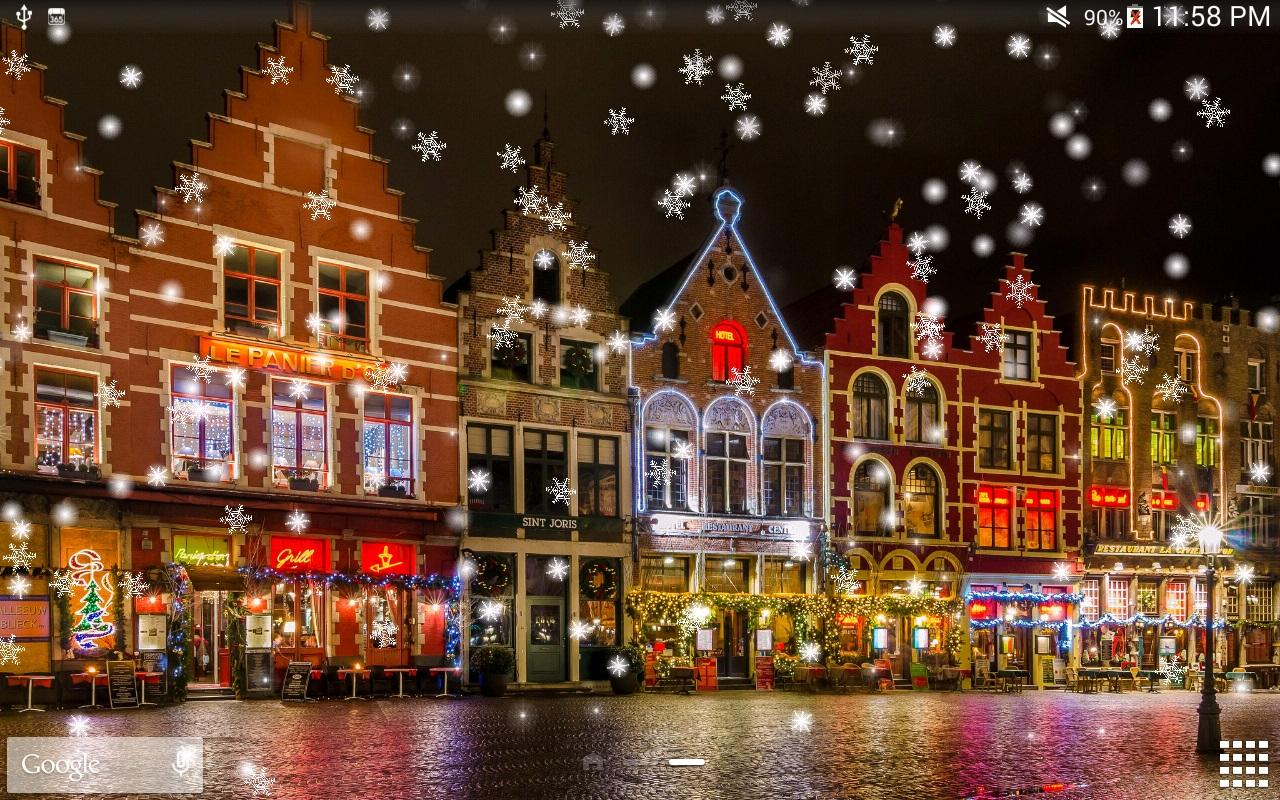 Snow night live wallpaper hd android apps on google play - Snow night city wallpaper ...
