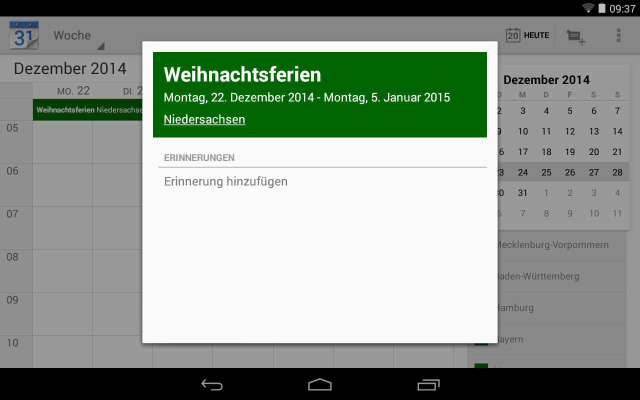 Ferienkalender- screenshot
