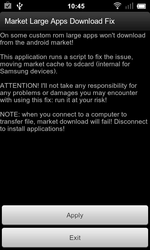 Market Large Apps Download Fix - screenshot