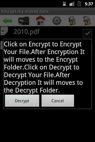 Encrypt my mobile data - screenshot