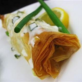 Phyllo-Wrapped Halibut Fillets with Lemon Scallion Sauce.