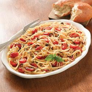 Mediterranean Linguine with Basil and Tomatoes.