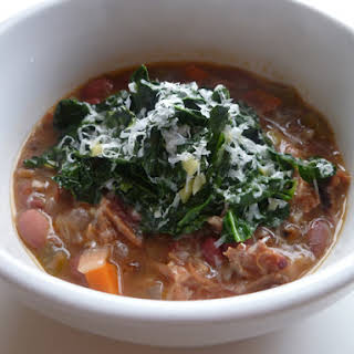 Barley and Cranberry Bean Soup with Kale.