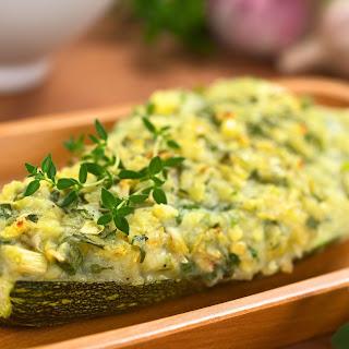 Zucchini with Pesto Mashed Potatoes.