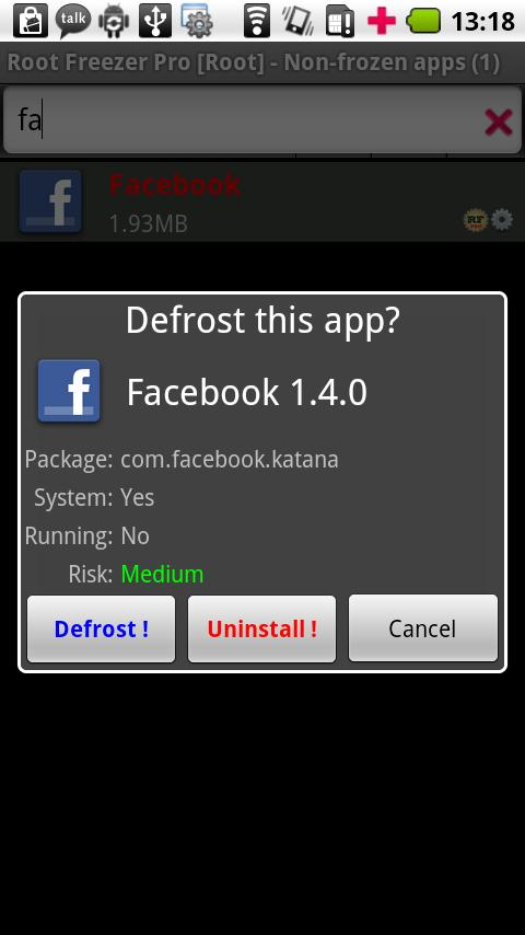 Root Freezer Pro - screenshot