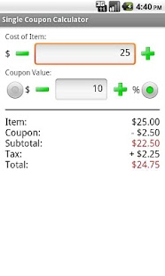 Mega Coupon Calculator - screenshot thumbnail