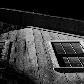 Boomtown Barn by Brandon Ferreira - Black & White Buildings & Architecture ( barn, black and white, dark, white, night, historic, black, country )