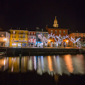 Ascona by night by Sabina Lombardo-Salmina - City,  Street & Park  Night (  )