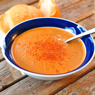 Curry Roasted Red Pepper and Eggplant Soup.