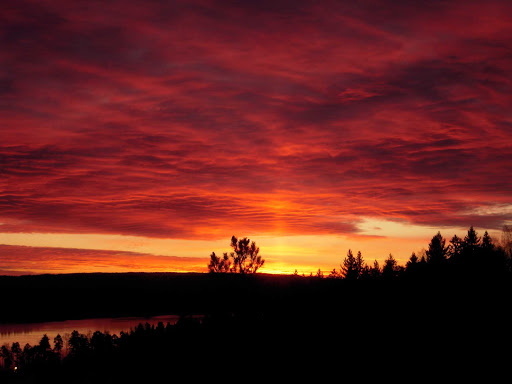 Sunrise over the Oslo Fjord in Norway.