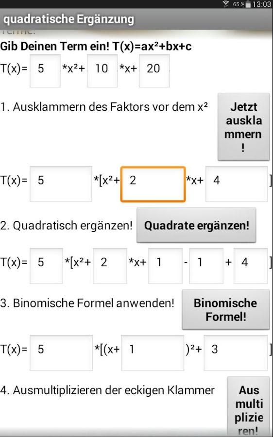quadratische Ergänzung - screenshot