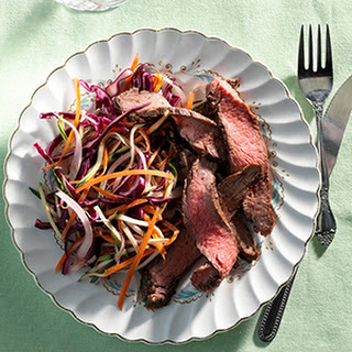 Grilled Herbed Steak With Rainbow Slaw