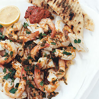 Mixed Seafood Grill with Paprika-Lemon Dressing.