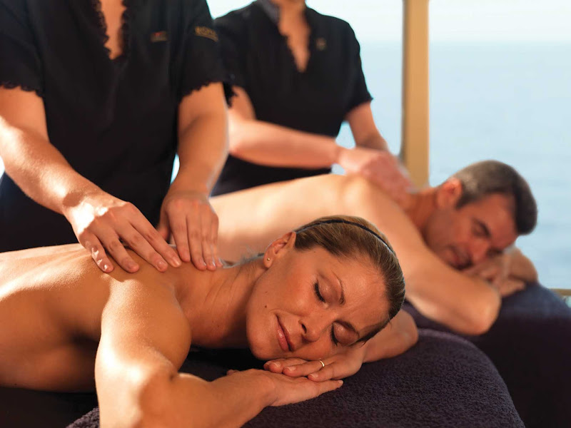 Relax with a couples massage at the Cunard Royal Spa aboard Queen Elizabeth.