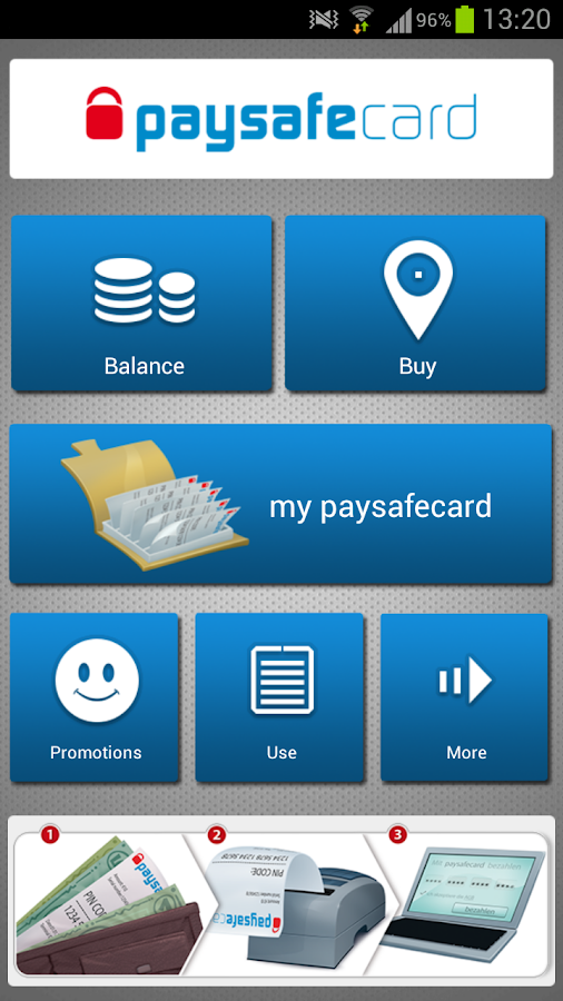 The paysafecard app - screenshot
