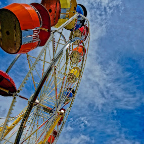 Ferris Fright by Barbara Brock - City,  Street & Park  Amusement Parks ( fairground ride, carnival ride, at the fair, carousel, looking up at the ferris wheel, ferris wheel,  )