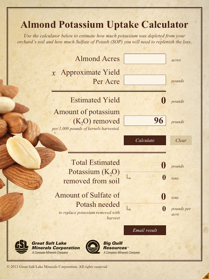 Almond Potassium Calculator - screenshot