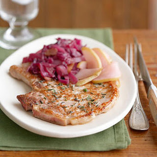 Pork Chops with Red Cabbage and Pears.