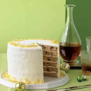 Layered Fruitcake with Creme Fraiche Frosting.