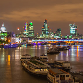River City Lights by Andro Andrejevic - City,  Street & Park  Night ( london, night photography, long exposure, night shot, river thames, nightscape, , city at night, street at night, park at night, nightlife, night life, nighttime in the city )