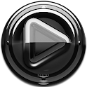 Poweramp skin Black Glas delux icon
