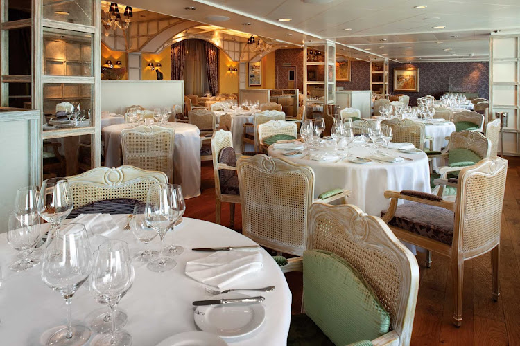 You'll enjoy a fine dining experience at Jacques restaurant on Oceania Riviera.