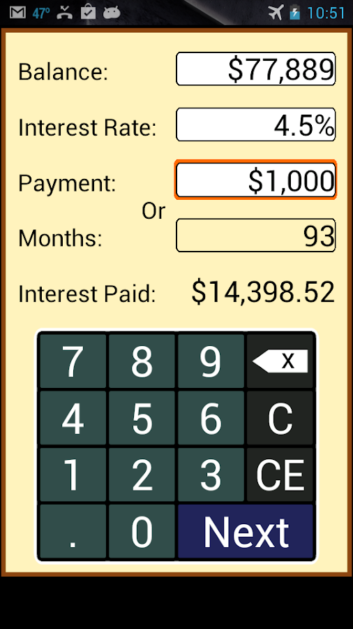 Payoff Calculator - screenshot