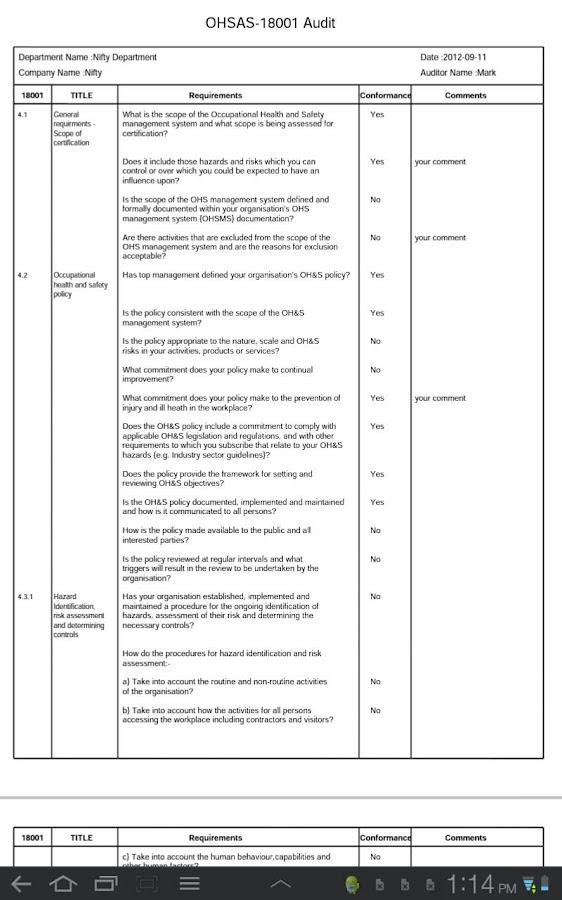 Ohsas 18001 Standard audit Checklist Kit manual Procedures