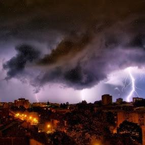storm by Ionel Covariuc - Landscapes Cloud Formations ( picture, town, storm, landscape )