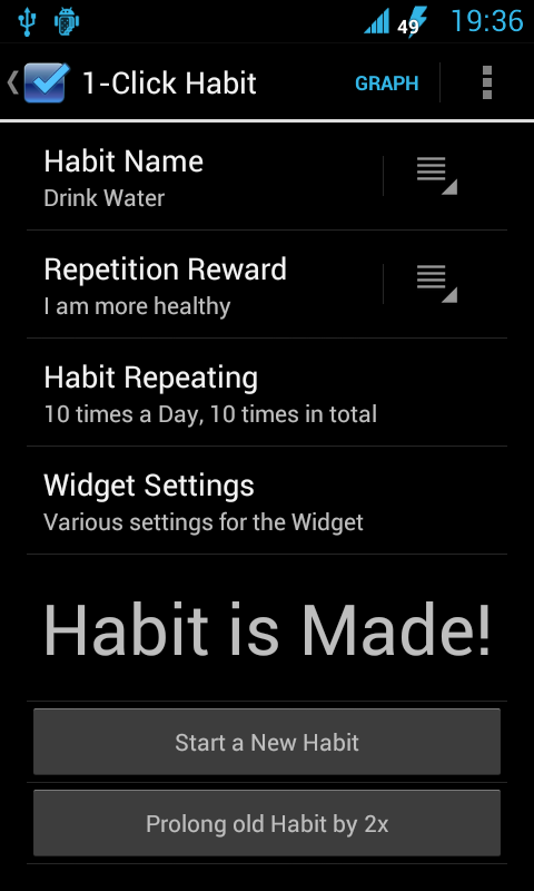 1-Click Habit Widget - screenshot