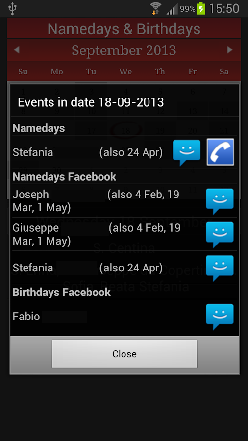 Namedays and Birthdays - screenshot