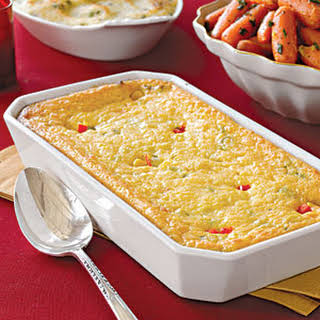 Corn Pudding with Scallions and Red Pepper.