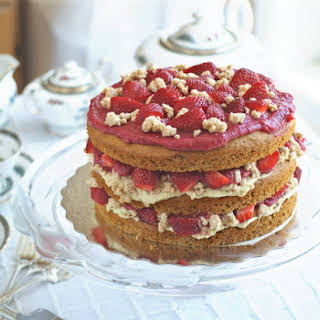 """Strawberry Layer Cake with Pastry Cream Filling and """"White Chocolate"""" Covered Cookie Crumbs."""