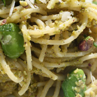 Spaghetti with Pistachio Pistou, Fava Beans, and Mint