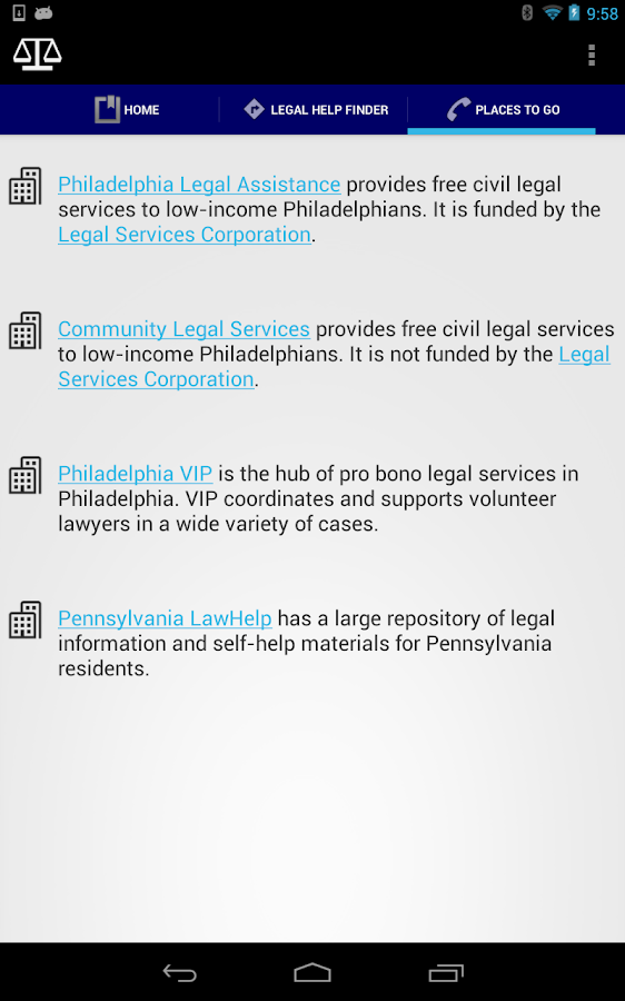 Legal Help Finder - screenshot