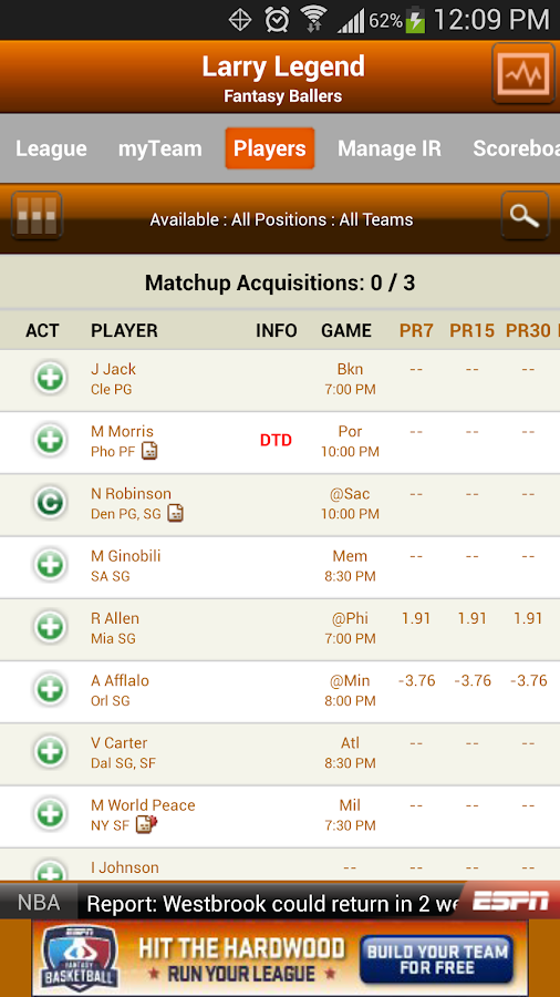 ESPN Fantasy Basketball - screenshot
