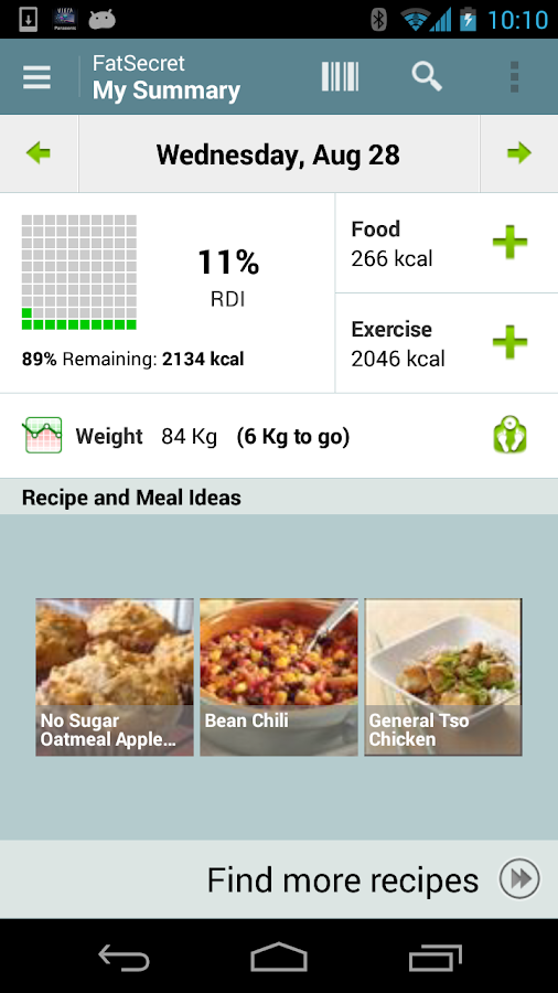 Calorie Counter by FatSecret - screenshot