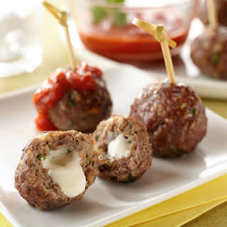 Mozzarella-Stuffed Appetizer Meatballs.