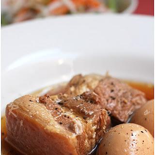 Thit Kho Vietnamese Caramelized Braised Pork Belly and Eggs.