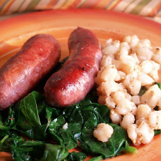Sausage With Hominy And Spinach.