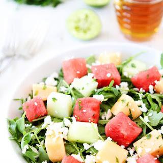 Melon Arugula Salad with Honey Lime Dressing.