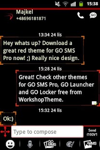 GO SMS Theme Red Neon - screenshot thumbnail