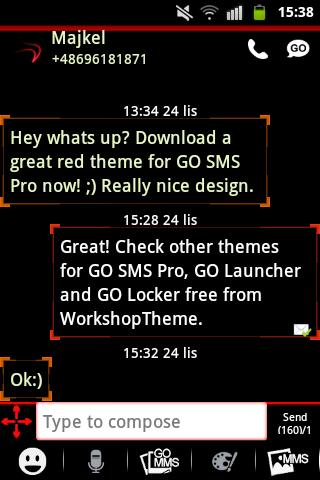 GO SMS Theme Red Neon- screenshot