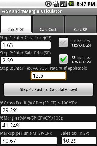 Free %Gross Profit Margin Calc- screenshot